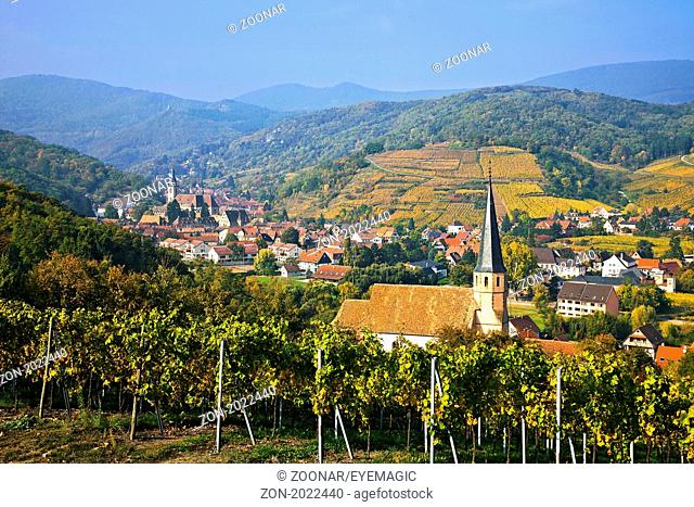 View of Andlau, Chapel Saint-André, Alsace, France