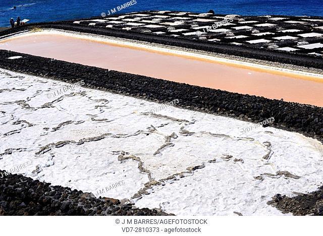 Salt evaporation ponds, salt works or salterns are artificial ponds ready to extract salts for water evaporation. Salinas de Fuencaliente, La Palma Island