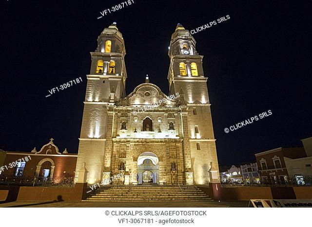 Cathedral of Campeche by night, San Francisco de Campeche, State of Campeche, Mexico