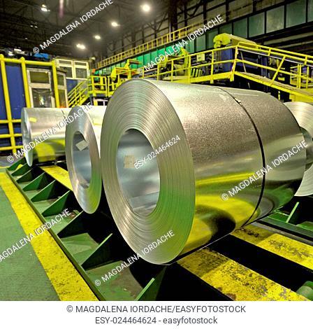 Steel coils inside a steel factory