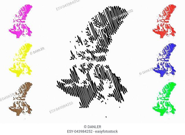 Nunavut (provinces and territories of Canada, Canadian Arctic Archipelago) map vector illustration, scribble sketch Nunavut map