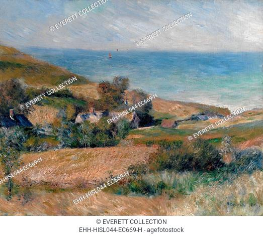 View of the Seacoast near Wargemont, by Auguste Renoir, 1880, French impressionist oil painting. This work was painted out of doors on the Normandy coast...