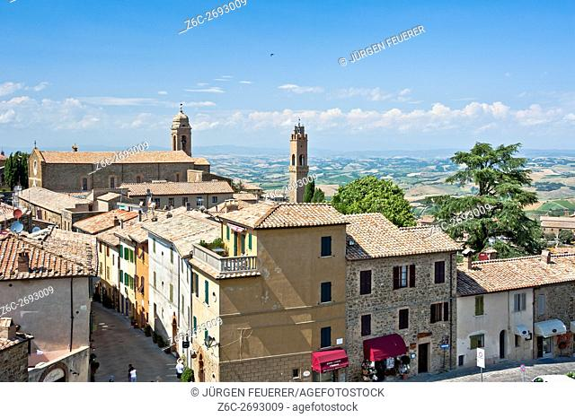 Sight of Tuscan town Montalcino, view from the fort above, Tuscany, Italy, province Siena
