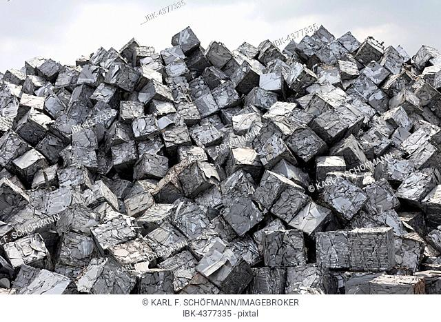Mountain of scrap metal, pressed into cubes, metal waste from industrial production, Port of Duisburg, Duisport, Ruhr district, North Rhine-Westphalia, Germany