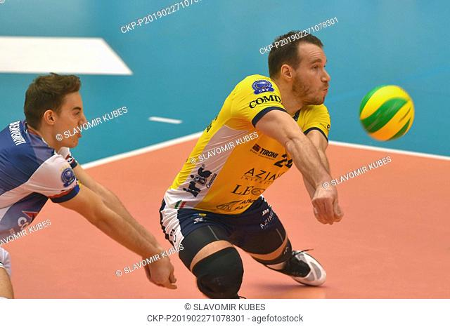 L-R Lorenzo Benvenuti and Denis Kaliberda (both Modena) in action during the 6th round group B of volleyball Champions League match Karlovarsko vs Modena in...