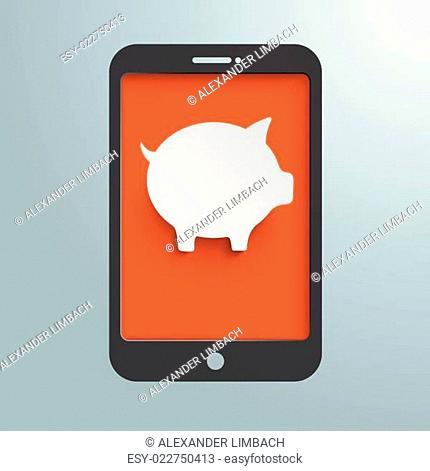 Silver Background Smartphone Piggy Bank PiAd
