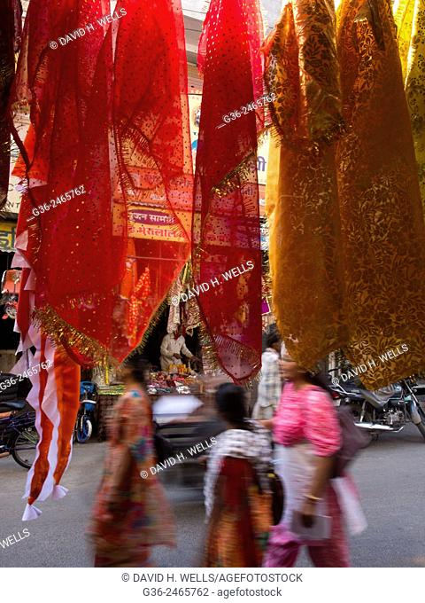Traditional clothing hanging on shop in Udaipur, Rajasthan, India