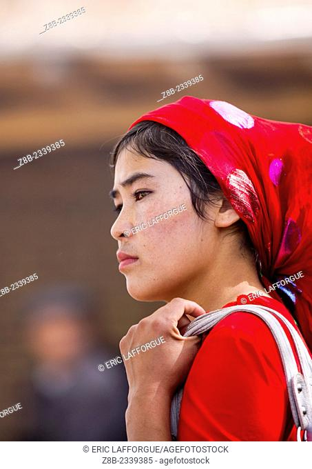 Young Uyghur Woman, Opal Village Market, Xinjiang Uyghur Autonomous Region, China