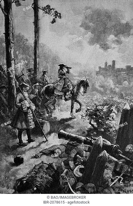 Prince Eugen during the battle of Belgrade, Serbia, 16 August 1717, woodcut, historical engraving, 1899