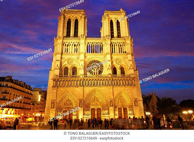 Notre Dame cathedral in Paris sunset in France French Gothic architecture
