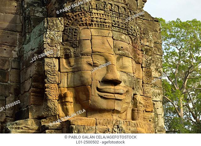 Bayon temple in Angkor Thom, capital of Angkor Wat complex, Cambodia