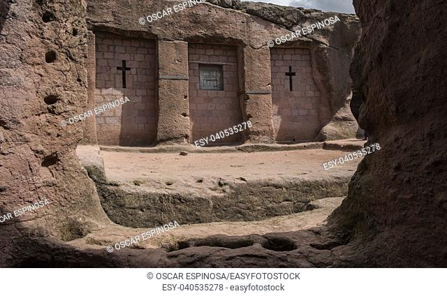 Bet Merkorios, one of the churches excavated in the rock of Lalibela. Ethiopia