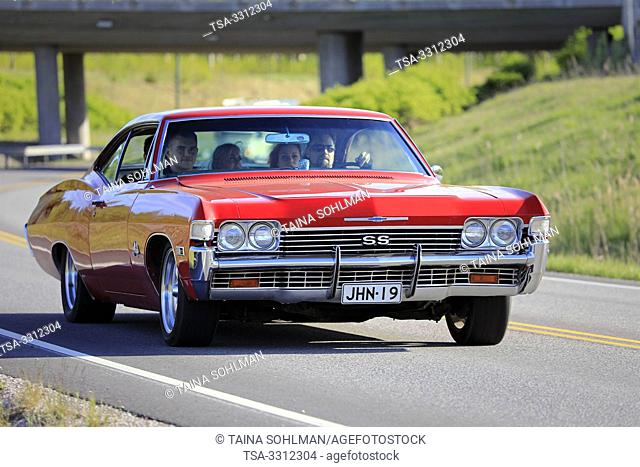 Salo, Finland. May 18, 2019. Red Chevrolet SS Super Sport on the road on Salon Maisema Cruising 2019. Over 450 vehicles participated in the popular event