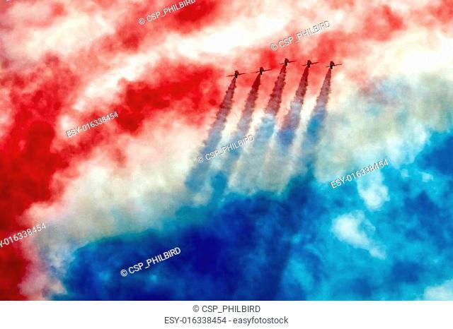 Red Arrows aerial display at Biggin Hill Airshow