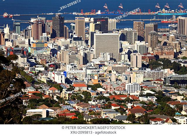 Cape Town Central Business District skyline seen from Lions Head, Western Cape, South Africa