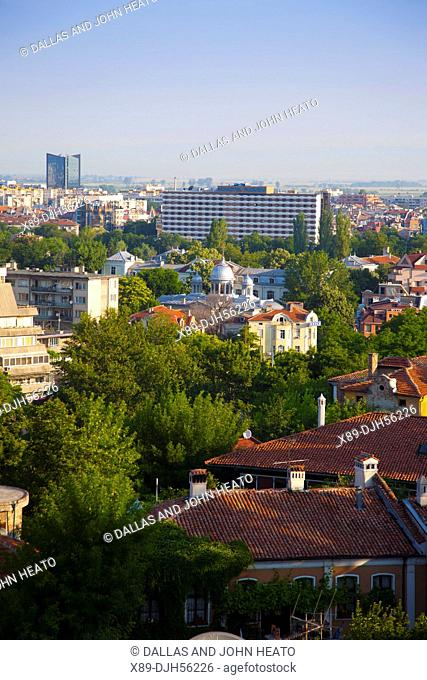 Bulgaria, Europe, Plovdiv, Western Plovdiv viewed from Nebet Tepe, Prayer Hill, Archaeological Complex, The Cities Highest Point