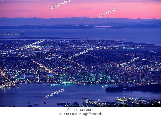 View of Vancouver from top of Grouse mountain, Vancouver, British Columbia, Canada