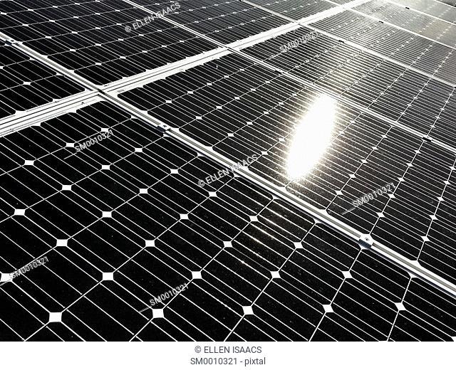 Glare from sun shining on array of solar panels