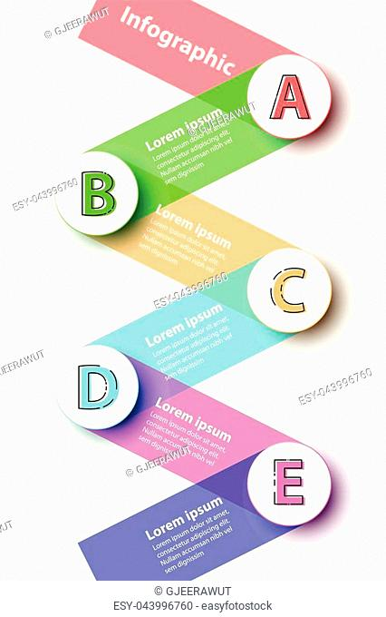 Five topics Colorful 3d paper circles with stripes on background for website presentation cover poster vector design infographic illustration concept