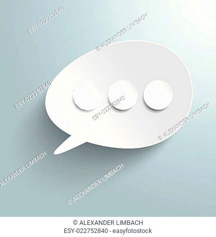White Bevel Speech Bubble Three Circles PiAd