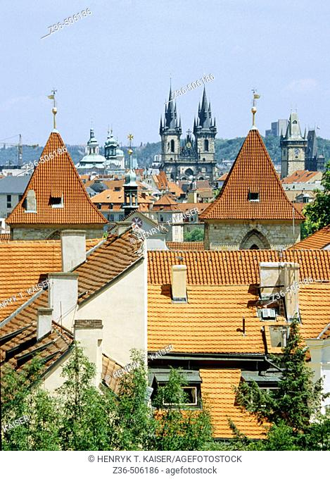 Church of Our Lady Before Tyn and roofs in Prague, Czech Republic