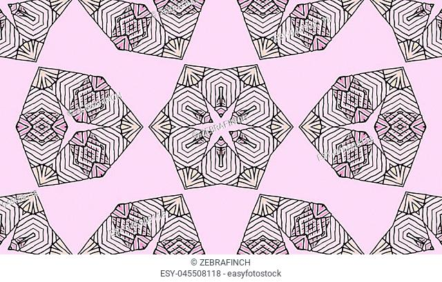 Seamless striped vector pattern. Colored decorative repainting background with tribal and ethnic motifs. Abstract geometric roughly hatched shapes