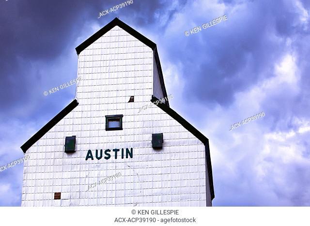 Grain Elevator and dramatic sky. Austin, Manitoba, Canada
