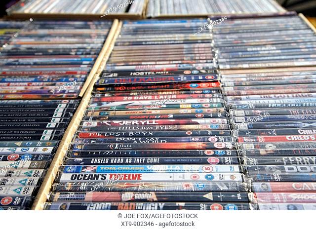 2nd hand dvds on sale on a stall at a car boot sale in newtownabbey northern ireland uk