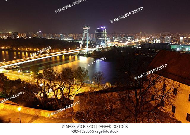 Novy Most bridge over the Danube river, Bratislava, Slovakia