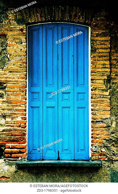 Classic window of a building in Collioure, Pyrenees-Orientales, Languedoc-Roussillon, France