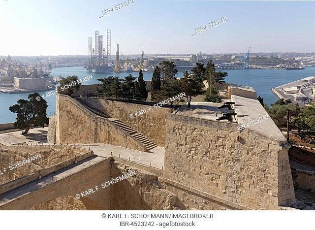 View of St. Peter Bastion and Grand Harbor, Valletta, Malta