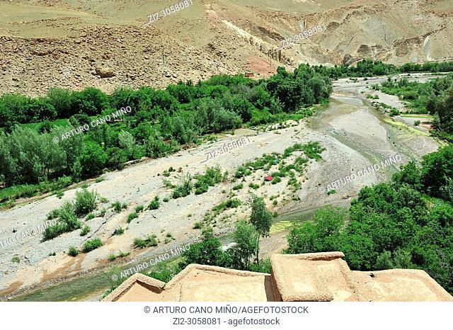 Valley of river M'goun. Elhout town. High Atlas. Morocco