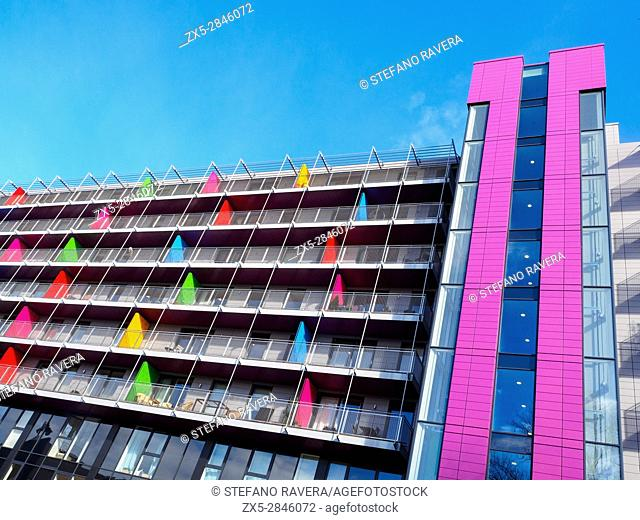 Coloured apartments (Tinderbox House) in Deptford - London, England