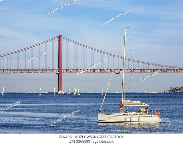 25 de Abril Bridge seen from Belem, Lisbon, Portugal