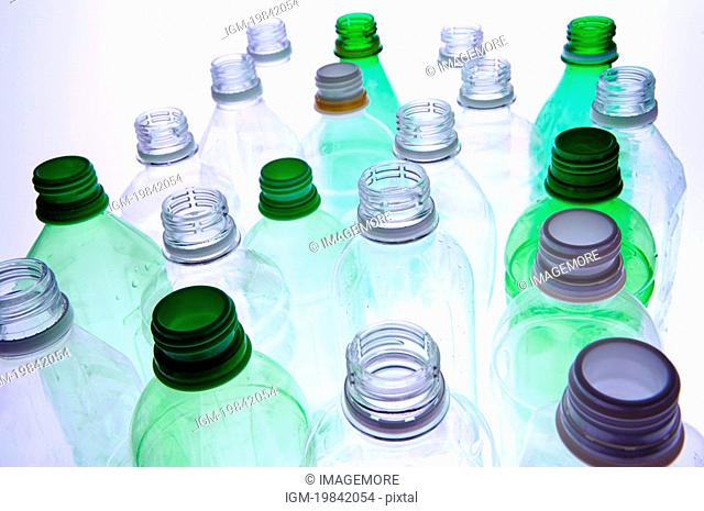 Clean plastic bottles lined up in rows