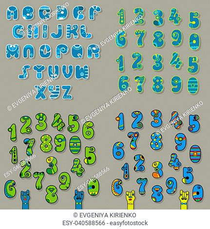 Set of Letters and Numbers. Blue and Green Alphabets with oriental decor. Cartoon hands looking at each other. Illustration