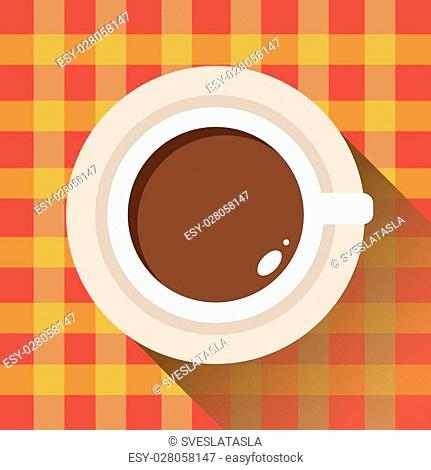 Coffee cup, checkered tablecloth, icon flat. Vector. Element for design