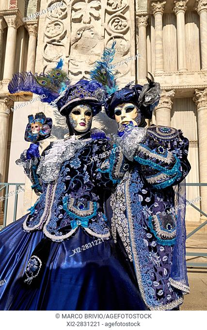 Masks at the Venice Carnival in St. Mark's Square, Italy