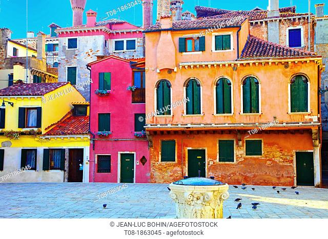 Italy, Venice, San Marco, Colorful Houses