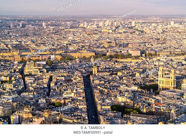 France, Paris, 6th arrondissement, Rue de Rennes, with the Louvre in the background and Church of Saint-Sulpice in the Odeon Quarter