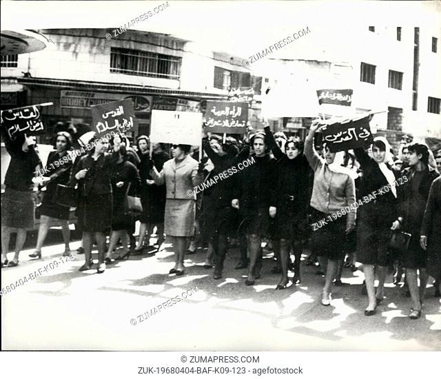 Apr. 04, 1968 - Arab Women Protest Against Planned Israeli Army Parade. Photo Shows:- Arab women demonstrators marching through the streets of Arab Jerusalem...