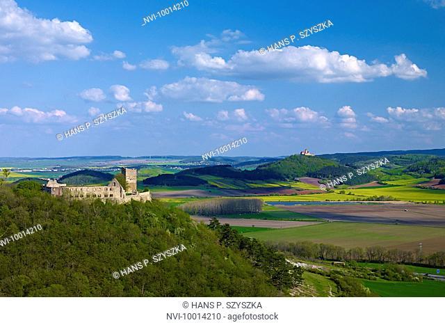 Gleichen Castle and Wachsenburg Castle near Muehlberg, Drei Gleichen, Thuringia, Germany