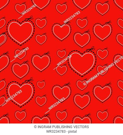 Red seamless love heart background ideal tile template