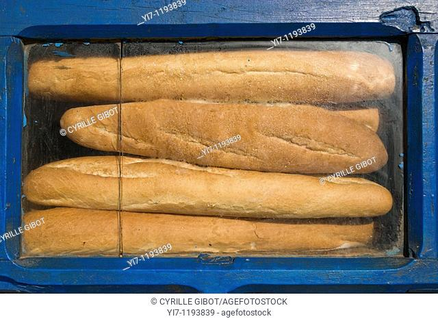 French baguettes on display at a bakery in Ambositra, Madagascar