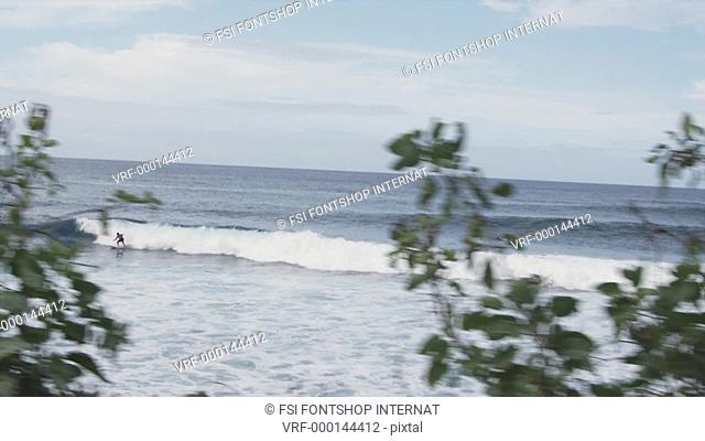 WS, A surfer riding a wave, Honolulu, Hawaii, USA