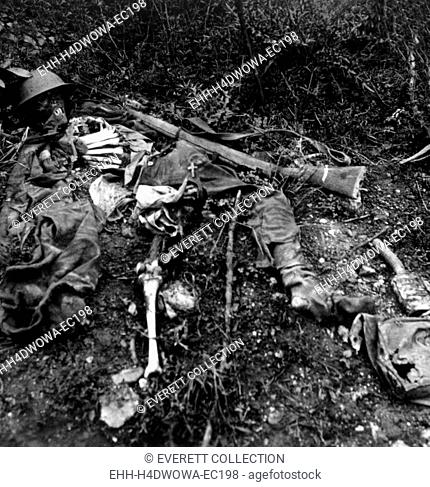 World War I, the remains of an English soldier in No Man's Land, Chemin des Dames, north of Soissons, 1917