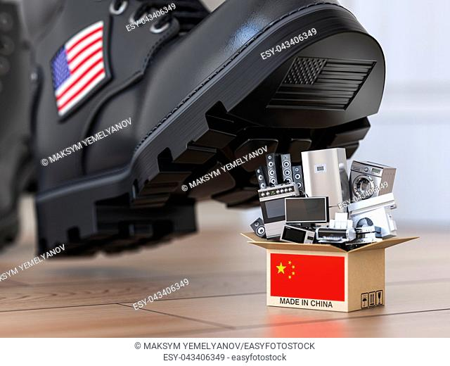 USA China technology war and market conflict. Economic trade war concept. Cardbox with appliance made in China and american military boot above it