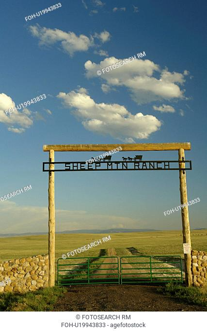 Albany County, WY, Wyoming, Sheep Mountain Ranch, prairie, open range, gate