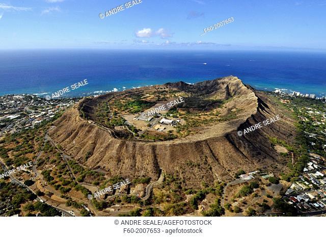 Aerial view of Diamond Head volcanic crater, Oahu, Hawaii, USA