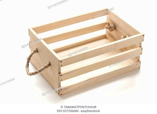 Wood box with rope handles on white background